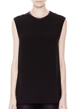 Round Neck Silk Top - Black