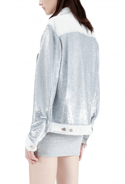 Nanopo Sequin Denim Jacket - Silver