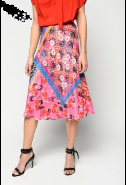 Oriental Patchwork Print Skirt - Multi Fuchsia