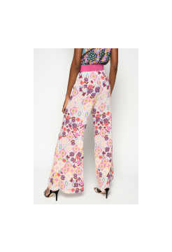 Ikat Floral Print Trousers - Multi Fuchsia