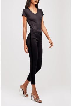 Margot Velvet Stripe Skinny Jean - Black Denim