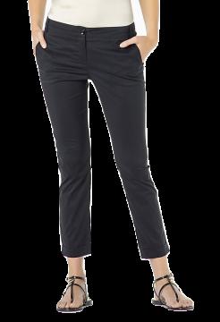 Stretch Cotton Poplin Trousers - Black