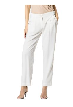 Masculine Tailored Crepe Trousers - White