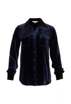 Velvet Western Shirt - Tanzanite Blue