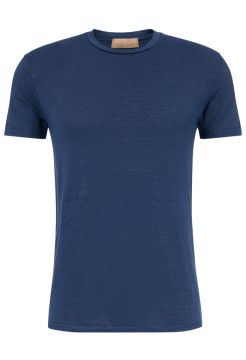 Short Sleeve Linen Crew Neck T-shirt - Navy