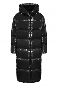 Hooded Full Length Shiny Down Coat - Black