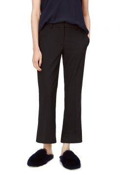 Cropped Flaire Stretch Trouser - Black