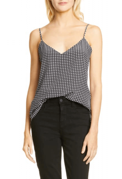 Jane Gingham Silk Camisole Tank - Black/Ivory