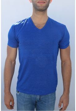 Linen V-Neck T-Shirt - Royal Blue