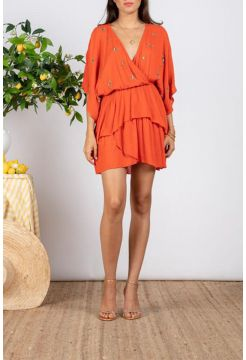 Vera Short Sun Dress - Tangerine Orange