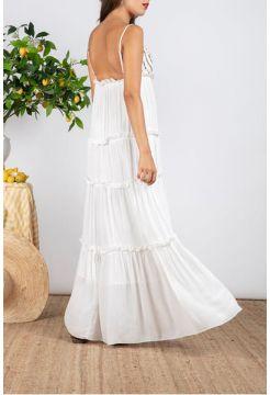 Ulla Sequin Strap Dress - White / Gold