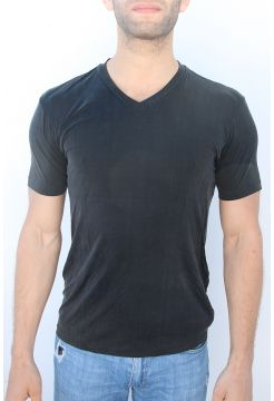 V-Neck Cupro Blend T-Shirt - Black
