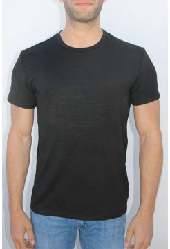 Short Sleeve Linen Crew Neck T-shirt - Black