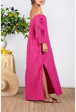 Paula Sun Cut Long Dress -  Fuchsia Pink / Gold