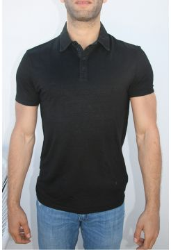Linen Short Sleeve Polo Shirt - Black