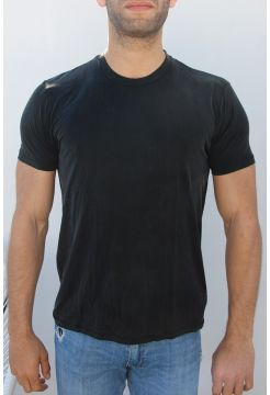Crew Neck Cupro Blend T-Shirt - Black