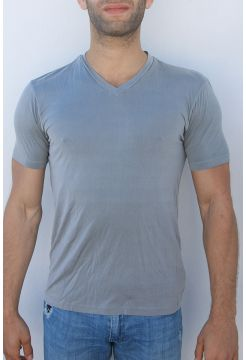 V-Neck Short Sleeve Cupro Blend T-Shirt - Grey