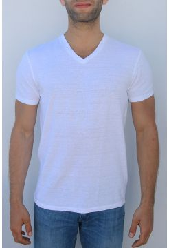 Linen V-Neck T-Shirt - White