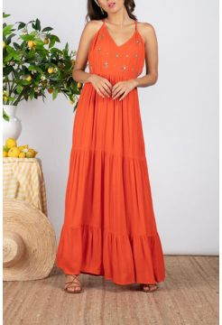 Claire Long Sun Dress - Tangerine Orange