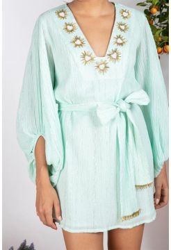 Embroidered Augustine Short Dress - Pool Turquoise
