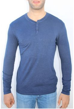 Long Sleeve Linen Granddad T-Shirt - Navy Blue