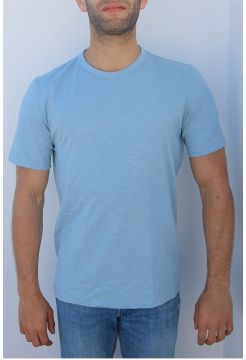 Short Sleeve Linen Crew Neck T-shirt - Sky Blue