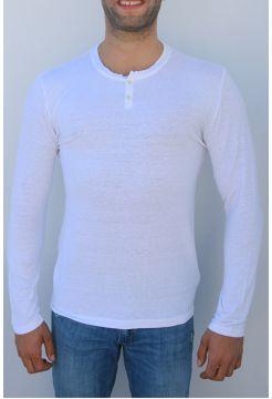 Short Sleeve Linen Granddad Tee - White