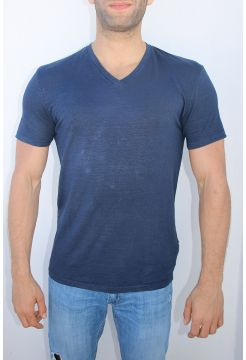 Linen V-Neck T-Shirt - Navy Blue