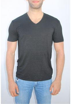 Linen V-Neck T-Shirt - Black