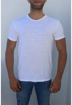 Short Sleeve Linen Crew Neck T-shirt - White