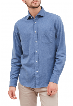 Brushed Flannel Regular Fit Shirt - Denim Blue