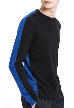 Two Tone Cashmere Color Blocked Sweater - Black