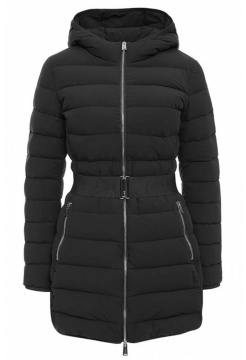 Full Length Stretch Down Filled Coat - Black