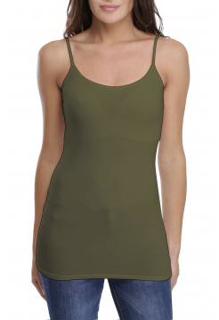 Alison Long Tank Vest Top - Khaki