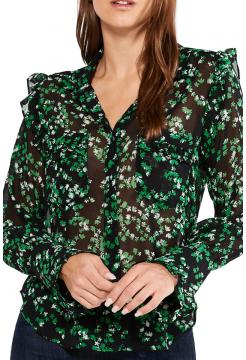 Anita Print Blouse - Green Mini Blooms