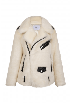 Anja Long Biker Jacket - White