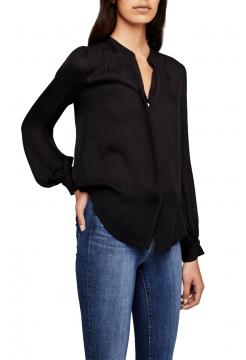 Fabiola Shirred Yoke Silk Blouse - Black