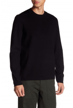 Patchwork Wool Crew Neck Sweater - Black