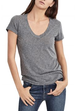 Christie Gauzy V-Neck T-Shirt - Charcoal Melange
