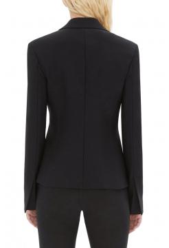 Cinched Waist Wool Blazer - Black