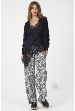 Paisley Print Wide Trousers - Black