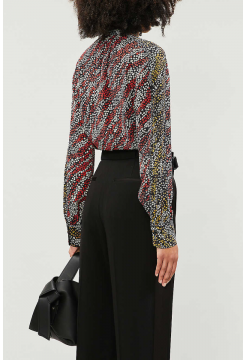 Colette Graphic Print Silk Blouse - Black Multi