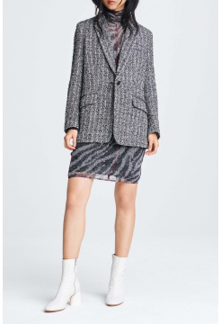 Ames Linton Oversized Tweed Blazer - Black/White