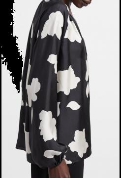 Open V-Neck Silk Top In Petal Print Silk