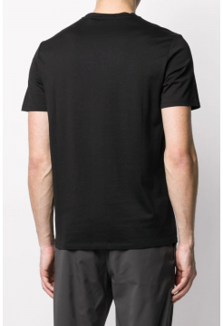 Slim Fit Silk & Cotton T-Shirt - Black