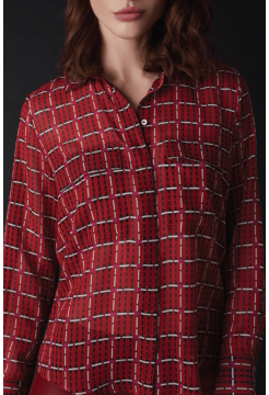 Two Pocket Square Print Shirt - Red