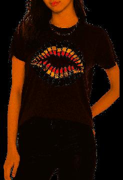 Foil Lipstick Wolf T-Shirt - Black