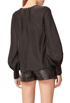 Tuck Collar Detailed Silk Blouse Top - Black