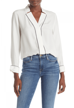 Fitted Notch Collar Silk Blouse - White