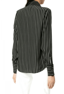 Notch Silk Collar Blouse - Black / White